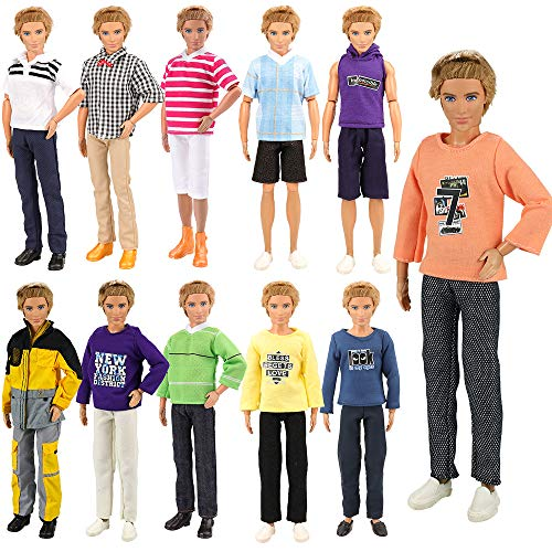 BARWA Lot 5 Sets Fashion Shirt Outfit Clothes with Trousers for 12 inch Boy Friend Doll