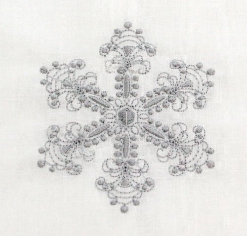 Silver Snowflake Embroidered Tea Towel In 3 Style Options Embroidery Style: Delicate