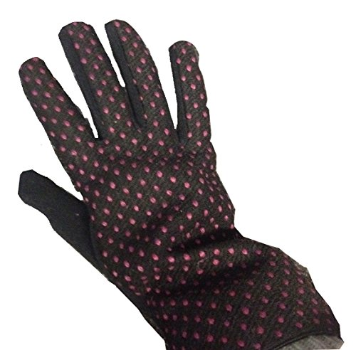 john-lewis-black-with-pink-polka-dot-gloves-size-medium