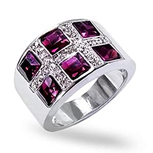 Bling Jewelry Princess Cut Amethyst Color Cocktail Ring