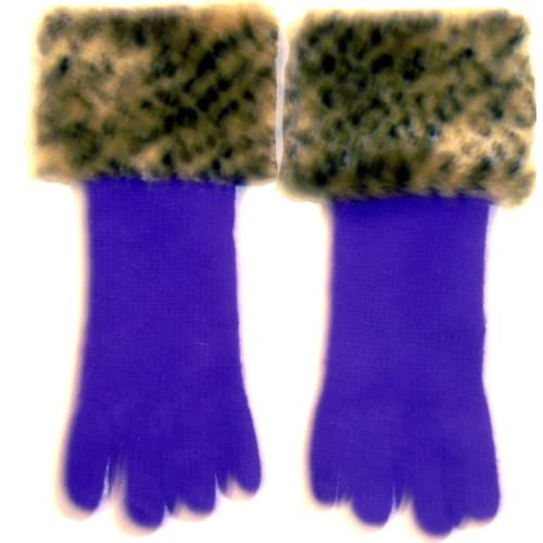 Purple Angora Wool Gloves Hand Trimmed with Fluffy Leopard Print Fur Cuff for Women and Teens