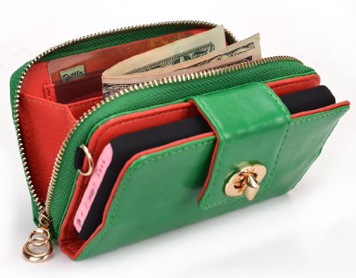 Great Price Geek by KROO Woman's Wristlet Built-in Stand Wallet Clutch for Apple iPhone 5 (Fits 16GB 32GB 64GB) - Irish Green / Glossy Finish + Includes EnvyDeal Velcro Tie