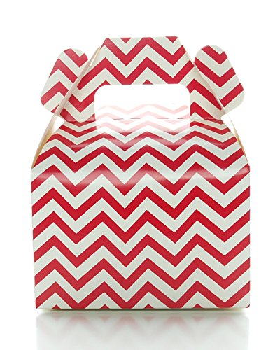 Red Candy Box, Mini Chevron Wedding Gift Boxes (12 Pack) - Red Birthday Party Supplies, Red Christmas Treat Party Boxes for Wedding Favors or Party Candy (Custom Treat Boxes compare prices)