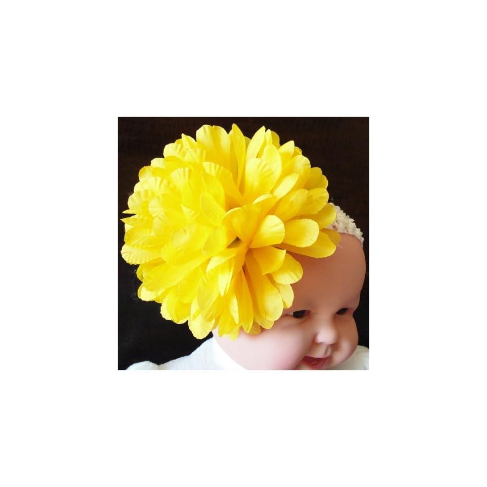 Tanday Yellow Crochet Elastic Baby Girl & Toddler Flower Headband Mum .