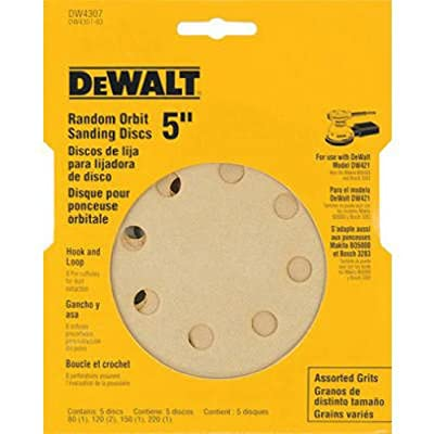 DEWALT DW4307 5-Inch 8 Hole Assortment Hook and Loop Random Orbit Sandpaper (5-Pack) by DEWALT