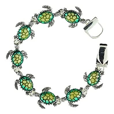 Silvertone Green Turtle Charm Magnetic Clasp Bracelet Fashion Jewelry