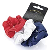 Set of 3 satin hair scrunchies. Comes with navy blue, red and white. Useful hair accessory.