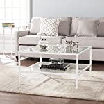 """Furniture HotSpot - Square Metal and Glass Coffee Table - White- 32"""" W x 32"""" D x 18"""" H"""