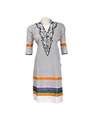 Mannmohini Chikan Women Cotton White Self Print Regular Fit Kurti (Size : 44)