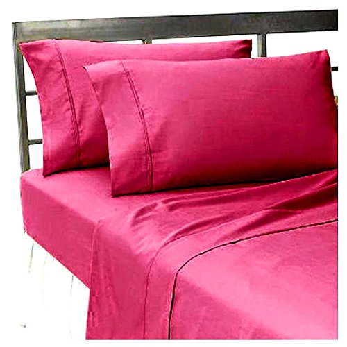 Srp Linen 500-Thread-Count Super Soft Zipper Closure Designer 3-Piece Luxury Duvet Cover Set Twin Solid Hot Pink front-1052221