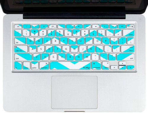 "Kuzy - Teal Hot Chevron Zig-Zag Keyboard Cover For Macbook Pro 13"" 15"" 17"" (With Or W/Out Retina Display) Imac And Macbook Air 13"" Silicone Skin - Teal / Turquoise Hot Blue"