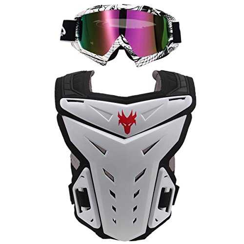POSSBAY Motorcycle Body Armor Gear Back Chest Protectors with Goggles Set Motocross Dirt Bike Unisex S to XXL for Skiing Riding Cycling Skating Scooter