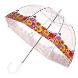 Clear Dome Bubble Umbrella With Spring Flowers & Butterfly Trim
