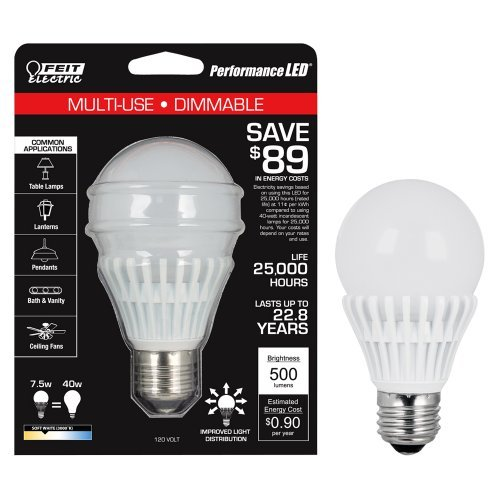 Feit Bpag500Dm/Led A19 Semi Omni Led 500 Lumens And Fully Dimmable 22.83 Years/25,000 Hours Instant Full Brightness - No Warm Up Time Like Cfl