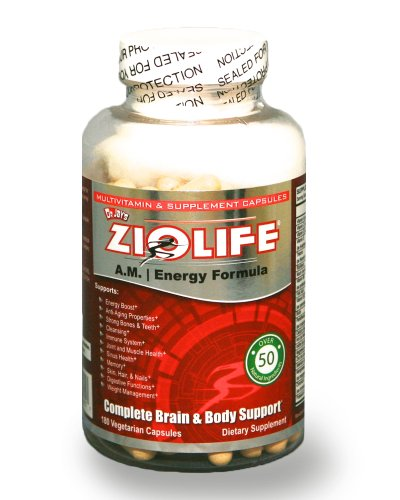 Ziolife A.M. (Energy Formula) Over 50 Natural Supplements Per Serving: 180 Capsules