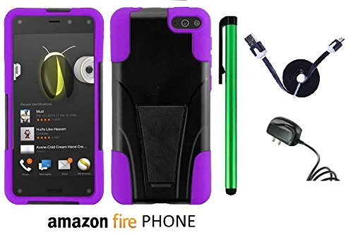 Amazon Fire Phone Premium Design Hybrid T-Stand, Flex Skin And Polycarbonate Hard Cover With Kickstand (Us Carrier: At&T; Released In July 2014) + Travel (Wall) Charger + 1 Of 1M/3Feet Stylish Micro Usb To Usb 2.0 Data Sync Charger Flat Cable + 1 Of New A front-504354