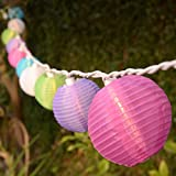 Set of 10 Multi-Color Indoor/Outdoor Mini Oriental Style Nylon Lantern Plug-in String Lights - Expandable to 150 Lights