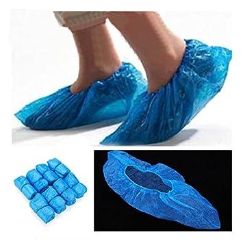 100x Jetable Plastique Plastique Pais Nettoyage De Tapis Couvre Chaussures Bricolage M148