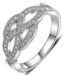 buy Beydodo Gold Plated Women Rings (Wedding Bands) Flower Cut Rhinestone Inlay Size 8 White Gold