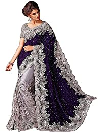 Bolly Lounge Women'S Velvet & Net Saree With Blouse Piece(Bbl-#!Blue_Gpo_Saree_Blue_Free Size)