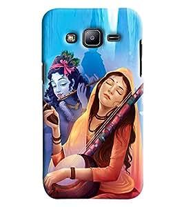 Blue Throat Radha And Krishna Hard Plastic Printed Back Cover/Case For Samsung Galaxy J2