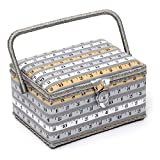 Hobby Gift HGM/161 | SEWING BOX Gold/White/Grey Tape Measure on Grey 18½x26x16cm