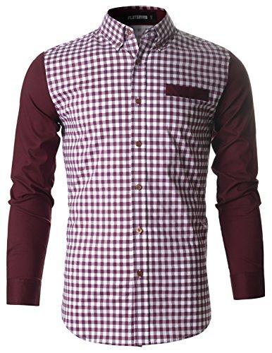 flatseven-chemise-a-carreaux-vichy-slim-fit-tissee-homme-tissu-ecossais-sh1008-vin-l