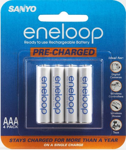 Sanyo Eneloop AAA NiMH Pre-Charged Rechargeable Batteries (4 Pack)