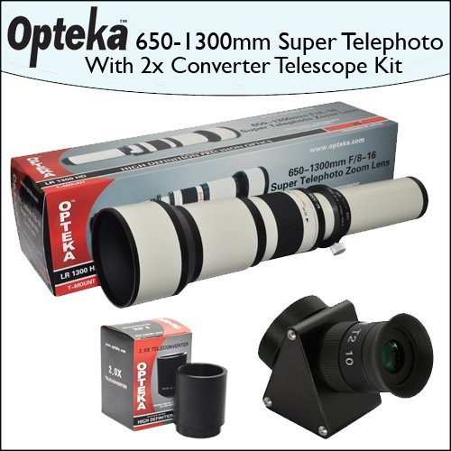 Opteka 650-1300Mm Hd Telephoto Zoom Lens + Lens Converter To Telescope + 2X Teleconverter Kit