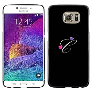 Omega Covers - Snap on Hard Back Case Cover Shell FOR Samsung Galaxy S6 - Black Initials Letter Calligraphy Text