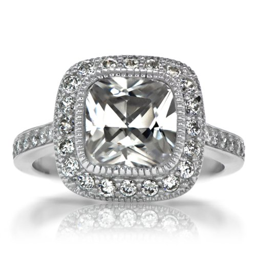 Gina's Vintage Style Halo Cushion Cut CZ Engagement Ring - Sterling Silver