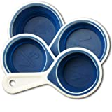 Collapsible Measuring Cups - 4 Piece Heat Resistant Silicone Set with Hanging Loop - Alaskan Blue
