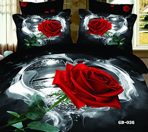 Queen King Size 100% Cotton 7-Pieces 3D One Big Red Rose White And Black Love Heart Style Floral Prints Fitted Sheet Set With Rubber Around Duvet Cover Set/Bed Linens/Bed Sheet Sets/Bedclothes/Bedding Sets/Bed Sets/Bed Covers/ Comforters Sets Bed In A Bag front-1040087