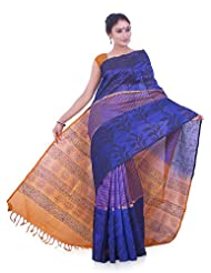 IndusDiva Blue and Gold Silk Cotton Saree
