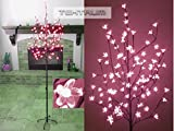 TEKTRUM TD-CT-72H108P Pink LED Lighted Cherry Blossom Flower Tree for Christmas Holiday Party - 6.5-Feet
