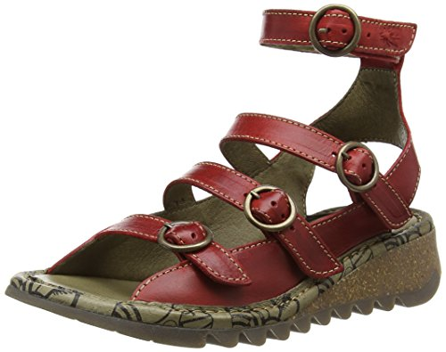 Fly London TYSE607FLY - Sandali a Punta Aperta Donna, Rosso (RED 002), 39 EU