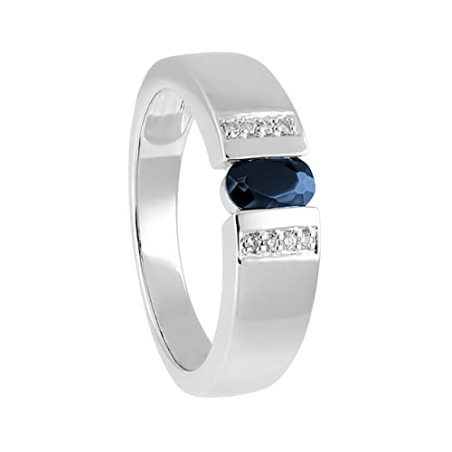 Bella Donna Women's Ring 925 Silver Rhodium Plated Diamond) White Brilliant Cut 0.04 Carat with Onyx Size 54 (17.2) - 122850