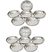 ROYAL SHAPPIRE Stainless Steel Dessert Bowl/Plate In Set Of 12 With Best Quality
