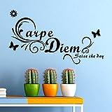 zooarts Carpe Diem papillon Home Decor Stickers muraux Art Mot Amovible Vinyle Citation salle de papier peint...