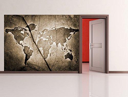 bilderdepot24-fotomurale-autoadesivo-foglio-di-mappa-del-mondo-seppia-200x150-cm-prodotto-in-germani