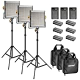 Neewer Bi-color LED 480 Video Light and Stand Kit with Battery and Charger for Studio, YouTube Video Shooting, Durable Metal Frame, Dimmable with U Bracket and Barndoor, 3200-5600K, CRI 96+ (3 Pack)