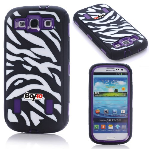 Bayke Brand Premium Armorbox Armor Defender Case for Samsung Galaxy S3 SIII i9300 Fashion Zebra Combo Print High Impact Dual Layer Hybrid Full-body Protective Case with Built-in Screen Protector (Purple) at Amazon.com