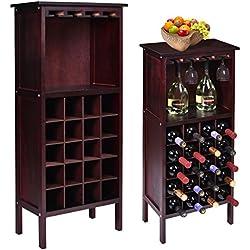 Gracelov New Wood Wine Cabinet Bottle Holder Storage Kitchen Home Bar Glass Rack (Wine Cabine)