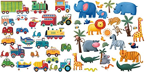 Roommates Transportation And Jungle Adventure Peel & Stick Wall Decals Set front-3487