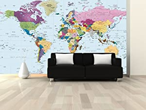 World map wall mural colorful 3 panel for Amazon world map mural