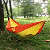 Antye Portable Double Camping Hammock Parachute Nylon Fabric for Outdoor Travel Camping (Yellow/Orange)