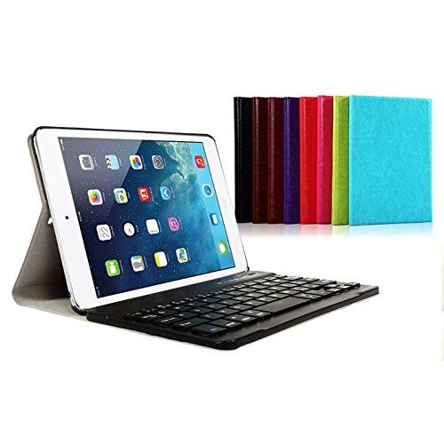 iPad mini4 キーボード ケース カバー 着脱可能なマグネット式 Bluetooth キーボードケース (ブルー)