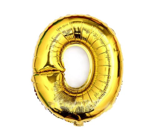 "Gold and silver , 16"" Numbers 0-9 foil balloons. Birthday / Party balloons. Q1501gold16""(0)"