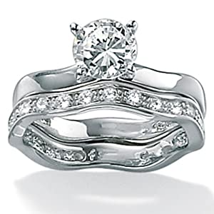 2.00 TCW Round Cubic Zirconia Platinum Over Sterling Silver Two-Piece Free-Form Wedding Set