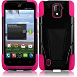 ZTE MAJESTY Z796C BLACK PINK HYBRID T KICKSTAND COVER HARD GEL CASE + FREE SCREEN PROTECTOR from [ACCESSORY ARENA]